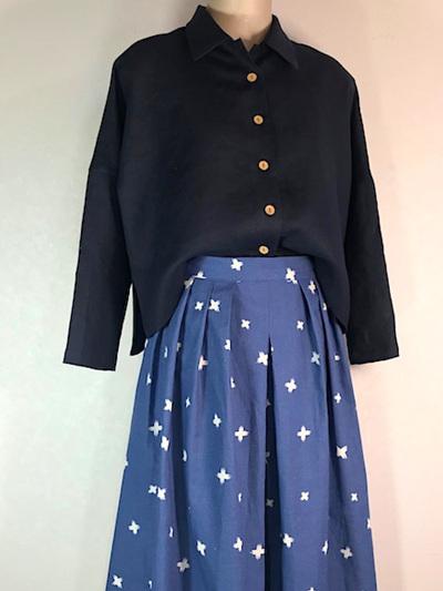 Cornflower pleat midi skirt