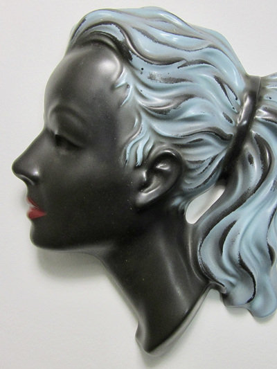 Cortendorf Ceramic Wall Art of Woman's Head  Mask in Black and Blue