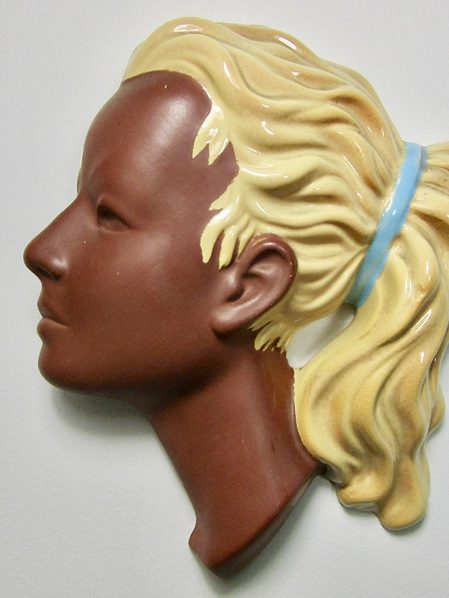 Cortendorf Vintage Wall Art Woman's Head Mask in Terra Cotta, Yellow and Blue