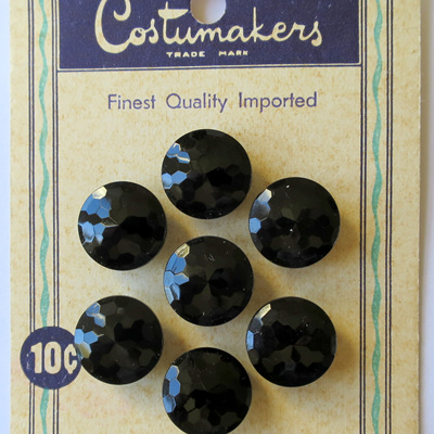 Black glass faceted buttons