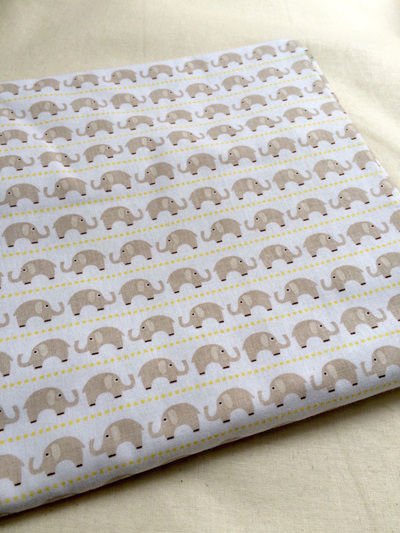 Cot Duvet - Elephants/Grey Chevron