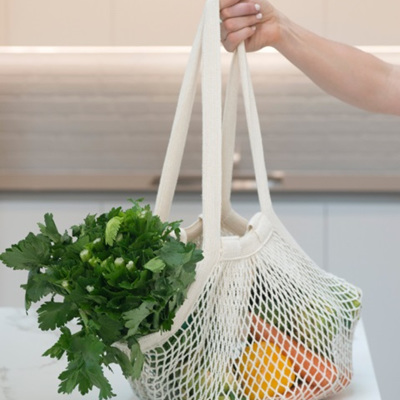 Cotton Mesh Carry Bag (Long Handle)