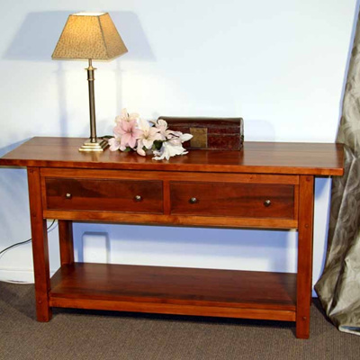 A Bexton Hall Table Two Drawers Warm Rimu Stain