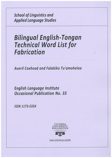 Coxhead Bilingual Fabrication List