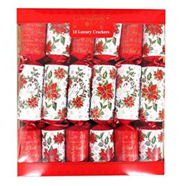 Crackers - 12 luxury poinsettia crackers