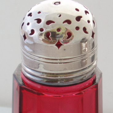 Cranberry glass sugar shaker