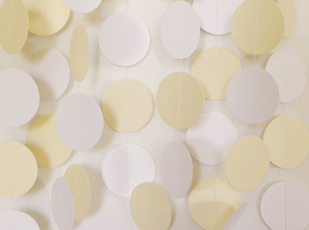 Cream and white paper circle garland