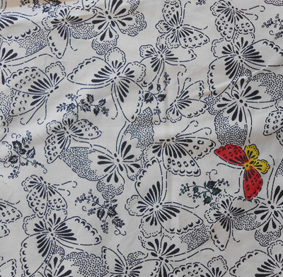 Cream Butterflys Colouring-In Fabric