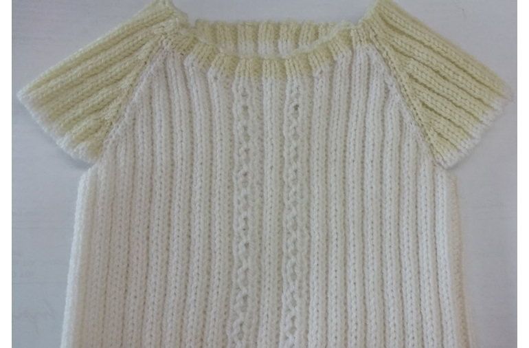 Cream & Lemon Baby 3 ply Merino Singlet with Sleeves
