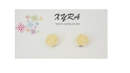 Cream Rose Clip-on Earrings