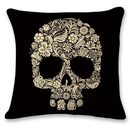 CREAM SKULL ON BLACK CUSHION COVER