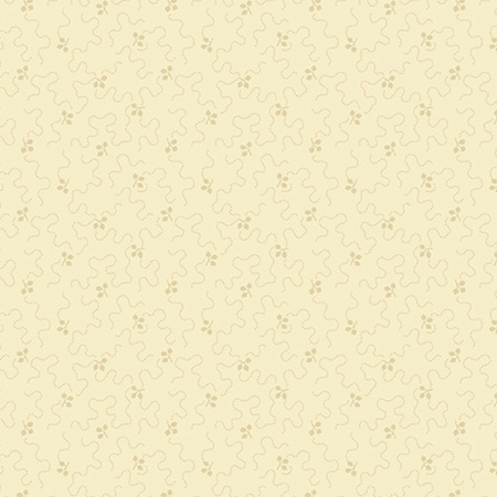 Creme Fraiche Meandering Lines with Leaves Cream A-9735-N