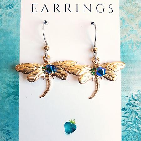 CRESSIDA  -  Gold & Blue/Green Dragonfly Earrings
