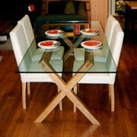 Criss Cross Glass Top Dining Table & Desk
