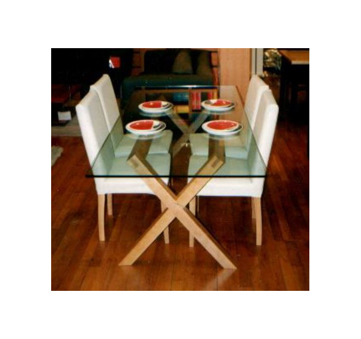 Criss Cross Glass Top Dining Table  New Zealand Made to Order