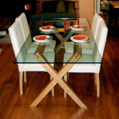 Criss Cross Glass Top Dining Table
