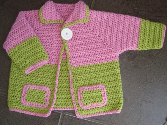 Crochet Cardigan - Pink and Lime Green
