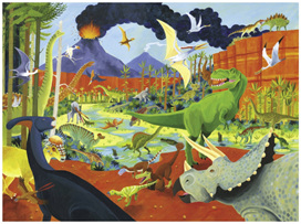 Crocodile Creek 300 Piece Jigsaw Puzzle: 36 Dinosaurs