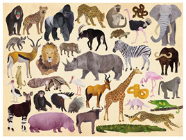 Crocodile Creek 300 Piece  Puzzle: 36 Wild Animals