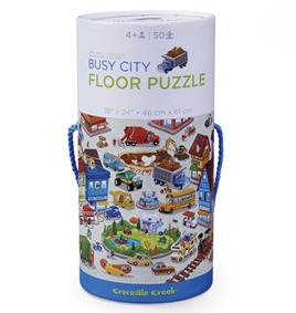 Crocodile Creek 50 Piece Canister Floor Puzzle Busy City