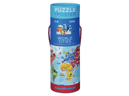 Crocodile Creek World Cities Puzzle + Poster 200 Piece