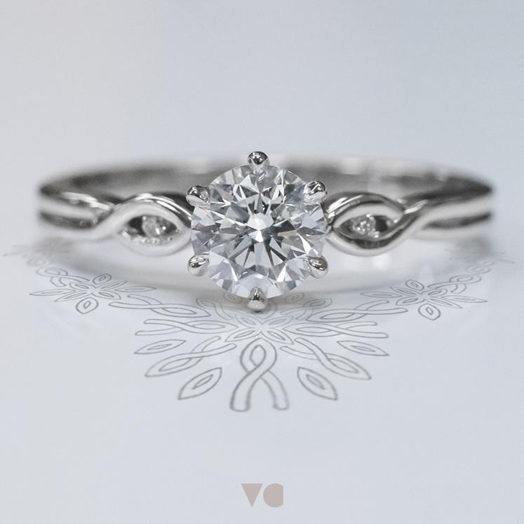 crossover band diamond accent set solitaire engagement ring platinum unique nz