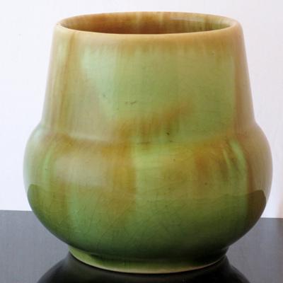 Green trickle glaze vase