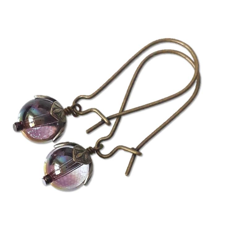crystal ball earrings.  Kidney hooks antiqued