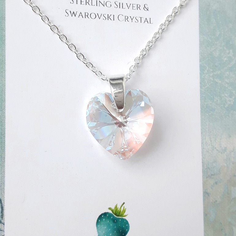 Crystal heart pendant clear shimmer