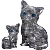 Crystal Puzzle - Black Cat & Kitten
