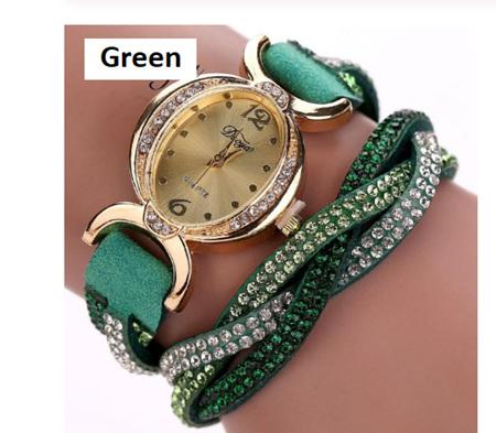 Crystal Rhinestone Bracelet Watch - Green