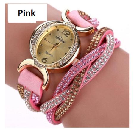 Crystal Rhinestone Bracelet Watch - Pink