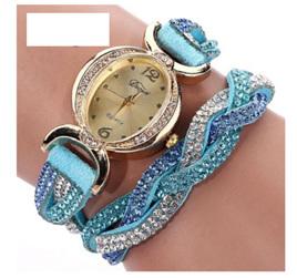 Crystal Rhinestone Bracelet Watch - Sky Blue