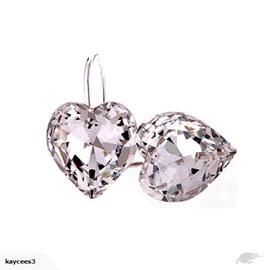 Crystal Rhinestone Heart Shaped Earrings *Clear*
