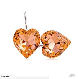 Crystal Rhinestone Heart Shaped Earrings *Orange*