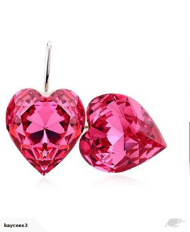 Crystal Rhinestone Heart Shaped Earrings *Pink*