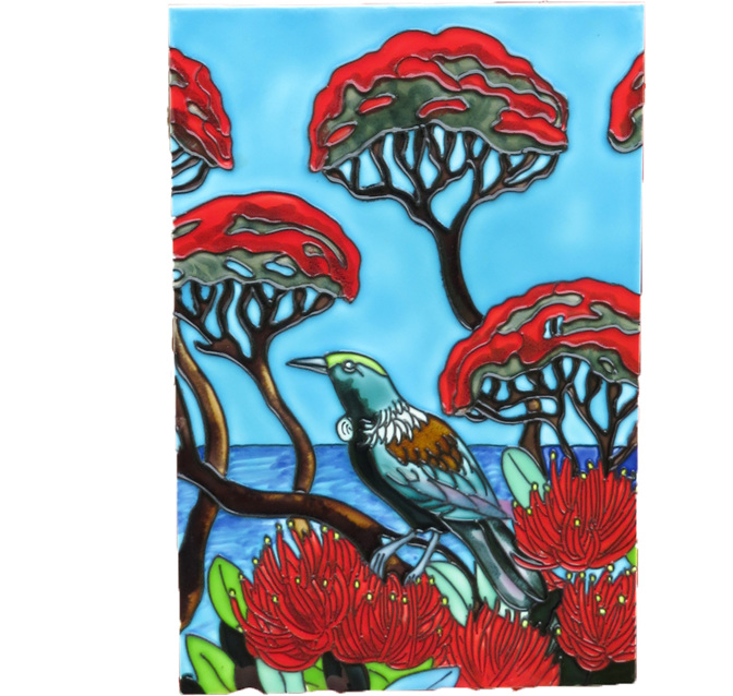 CT 112 Tui in flowering Pohutukawa trees
