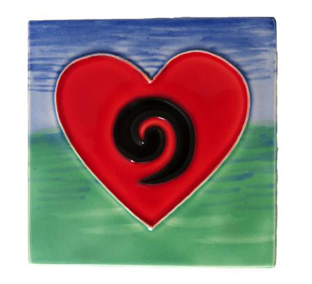 CT105 Koru heart wall art ceramic tile.