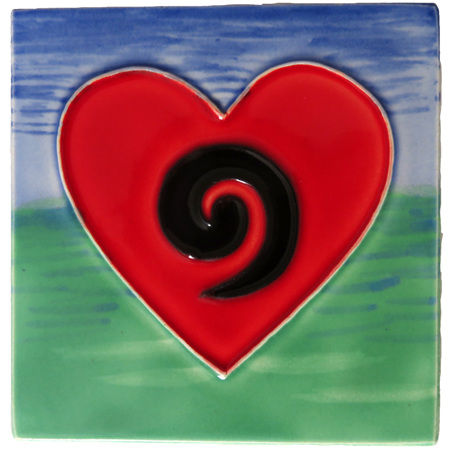 CT105 Koru heart wall art ceramic tile.