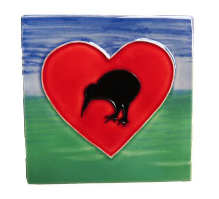 CT106 Kiwi heart small ceramic wall art tile.