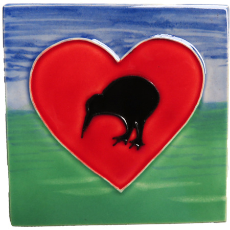 CT106 Kiwi heart small ceramic wall art tile.