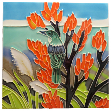 CT110 Tui in Flax flowers Wall Art