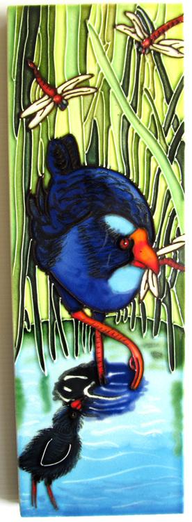 CT82 Pukeko and chick ceramic wall art