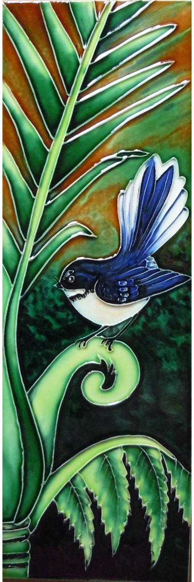 CT88 Ceramic Wall Art Green Fantail