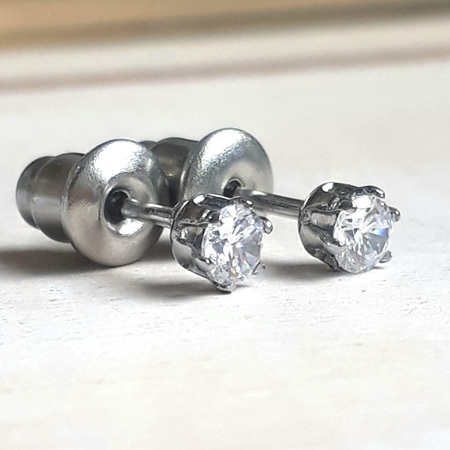 Cubic Zirconia and Stainless Steel Studs