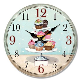 Cupcake Tier Wall Clock 34cm