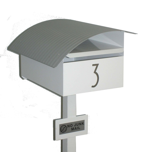 Curved Roof Letterbox with Mounting Post