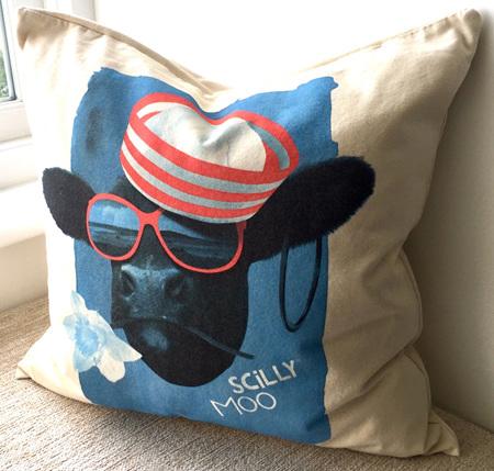Cushion Cover - Blue Moo