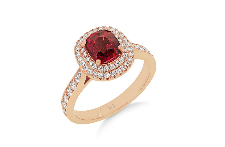 cushion cut burmese red spinel and diamond rose gold dress ring