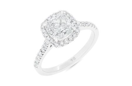 Cushion Cut Diamond Halo Ring with Diamond Set Band